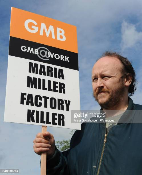 Employee Michael Donoghue who has worked for Remploy for 20 years stands on the picket line outside the Remploy factory in Leeds where disabled...