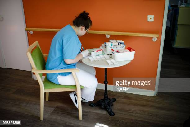 Employee of a nursing home during work on April 27 2018 in Berlin Germany