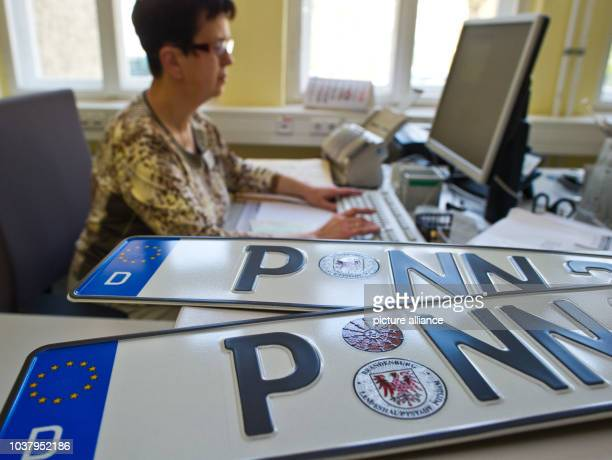 Employee Silvia Ziehe works at the vehicle registration office in Potsdam Germany 22 April 2013 The capital city of Brandenburg is the testwinner of...