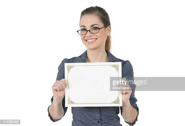 employee with blank certificate - certificate stock pictures, royalty-free photos & images