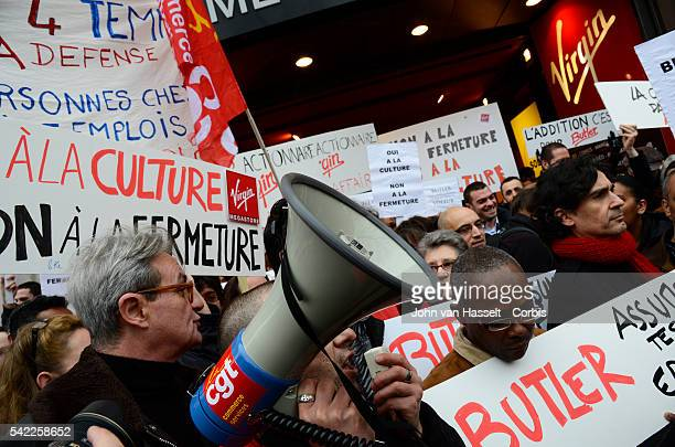 Employees and unions of the Virgin Megastore demonstrate in front of the group's flagship store on the ChampsElysée in Paris The company can no...
