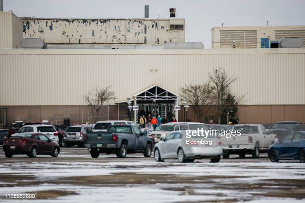 Employees and visitors exit from the General Motors Co Lordstown production plant complex in Lordstown Ohio US on Monday March 4 2019 The United Auto...