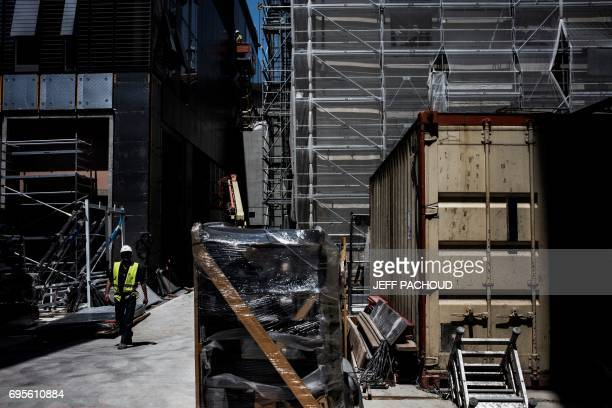 Employees are at work as part of the renovation of the Hotel Dieu, on June 13, 2017 in Lyon. The renovation of the Hotel Dieu, Lyon's old Central...