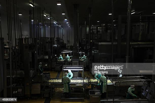 Employees arrange cooked crumbed chicken pieces as they move along a conveyor in the precooked and frozen meat section at the Charoen Pokphand Foods...