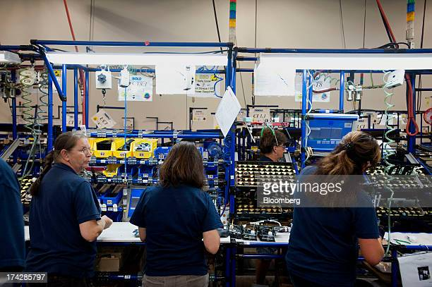 Employees assemble rollers on the automated teller machine production line at the Diebold Inc manufacturing facility in Greensboro North Carolina US...