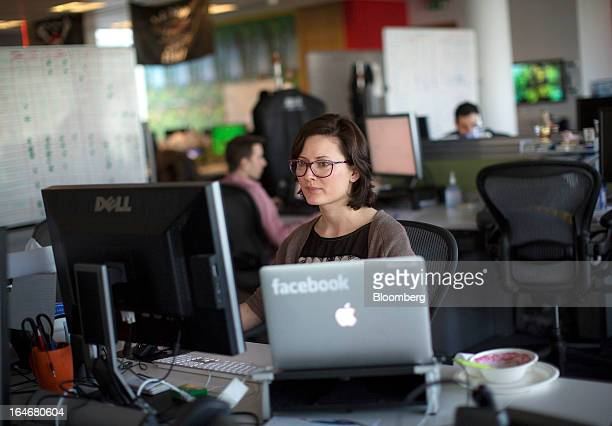 Employees at Facebook are seen working inside the office at Facebook Inc's European headquarters at Hanover Quay in Dublin Ireland on Thursday March...