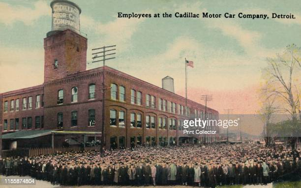 Employees at the Cadillac Motor Car Company, Detroit', circa 1930s. Workers outside factory buildings in Detroit, Michigan, USA. Postcard. Artist...