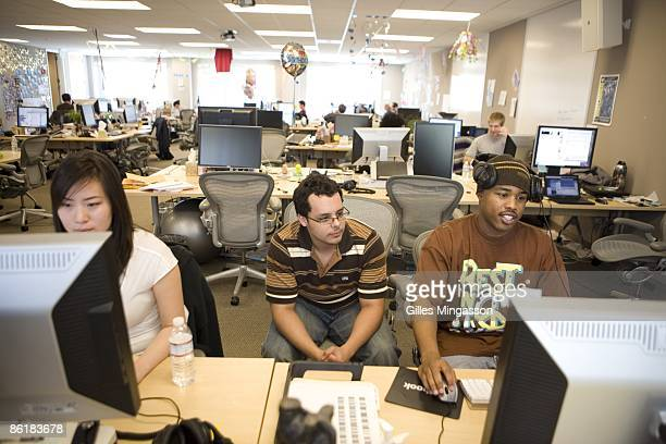 Employees at work in the Facebook headquarters where the atmosphere is casual and laidback in Palo Alto March 31 2009 Founded in 2004 Facebook is the...