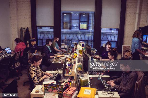 Employees from the website Deadspin work inside their office in Manhattan New York on November 1 2018