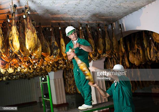 Employees hang Iberian hams or jamon iberico to dry in a cellar operated by Cinco Jotas in Jabugo Spain on Friday Nov 9 2012 Spain's passion for the...