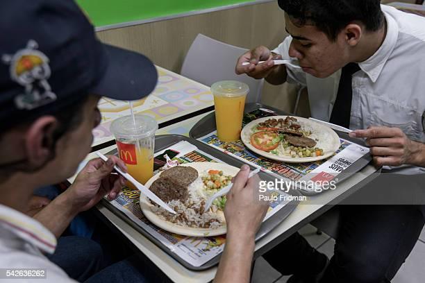 Employees have lunch at Alphaville McDonald's store Barueri Brazil