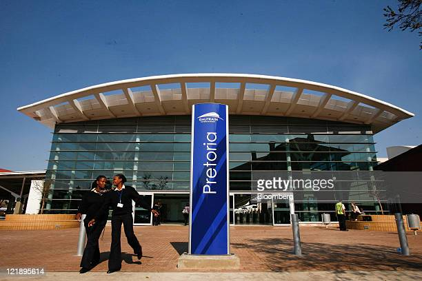 Employees leave the Gautrain mass transit rail station in Pretoria South Africa on Monday Aug 22 2011 South Africa expanded its rapidrail line...