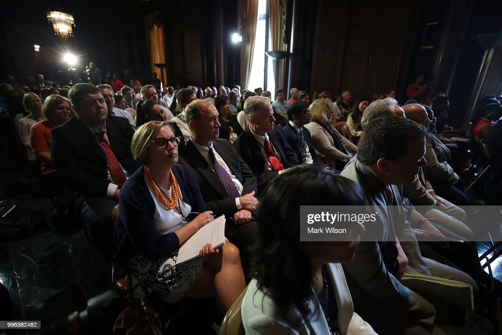 Employees listen to Acting EPA Administrator Andrew Wheeler speak at the Environmental Protection Agency headquarters on July 11, 2018 in Washington, DC. If confirmed by the U.S. Senate, Wheeler will replace Scott Pruitt who resigned last week.