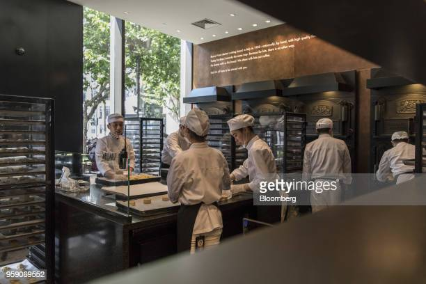 Employees make pastries in the Princi bakery inside the Starbucks Corp Reserve Roastery store in Shanghai China on Friday May 11 2018 Starbucksis...