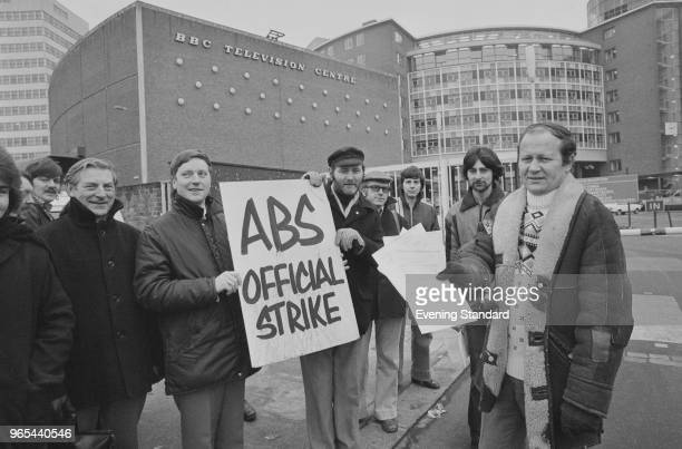BBC employees members of the British broadcasting trade union 'Association of Broadcasting and Allied Staffs' during a strike outside the BBC...