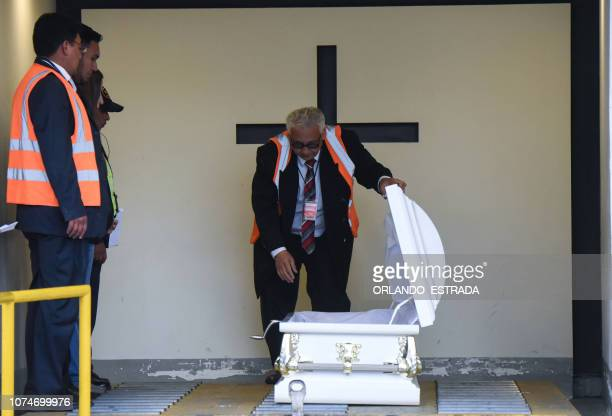 Employees of a funeral home prepare the coffin with the repatriated remains of sevenyearold Guatemalan migrant girl Jakelin Caal Maquin who died in a...