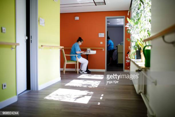 Employees of a nursing home during work on April 27 2018 in Berlin Germany