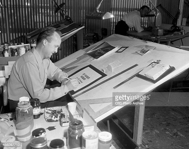 Employees of CBS's Television City Art Department in Los Angeles California Image dated November 17 1955