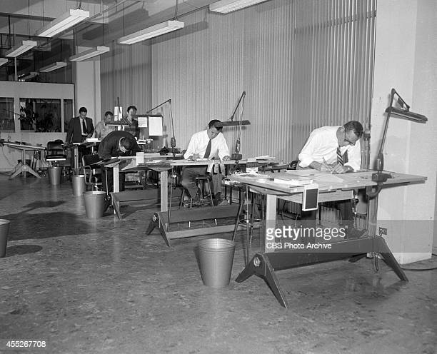 Employees of CBS's Television City Design Department in Los Angeles California Image dated November 17 1955