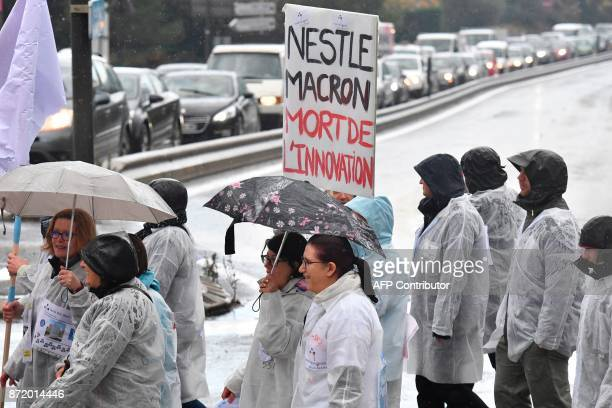 Employees of dermatology research and development company Galderma a subsidiary of Nestle Group demonstrate against a company's planned redundancy...