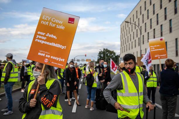 DEU: EasyJet Employees Protest Cuts To Berlin Hub