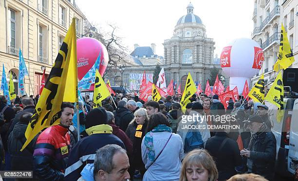 Employees of French Postal service 'La Poste' gather outside the Senate building for a rally called by the CGTFapt SUDPTT FO and Unsa unions as part...