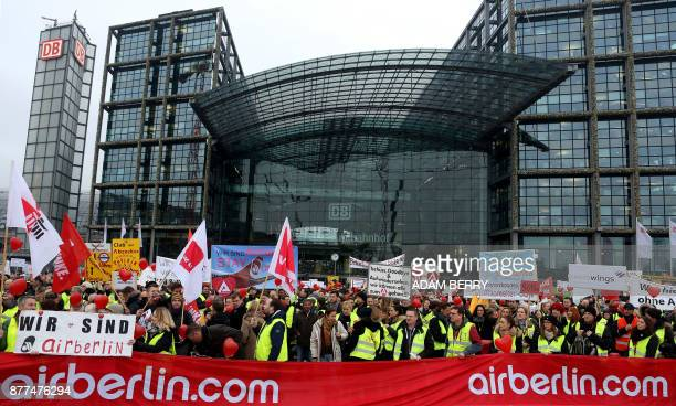 Employees of insolvent German airline Air Berlin demonstrate against job losses and uncertainty over their fate under new owners Lufthansa and...
