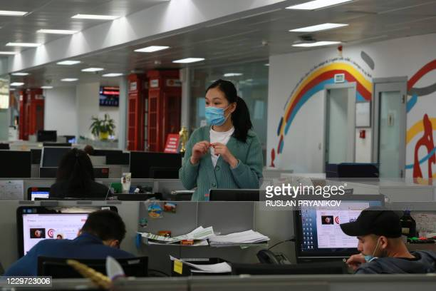 Employees of Kaspi, Kazakhstan's payment systems and e-commerce leader, work in their headquarters in Almaty on November 5, 2020. - Kaspi.kz, a...
