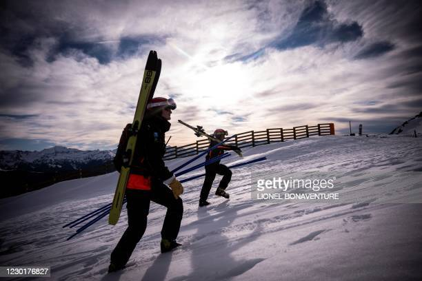 Employees of Le Mourtis mountain ressort patrols to secure the tracks on 16 December 2020. - The French government imposed ski resorts to shut their...