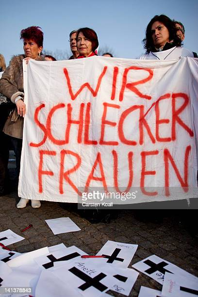 Employees of Schlecker drug stores demonstrate against closure later this month on March 15 2012 in Berlin Germany The German drugstore chain...