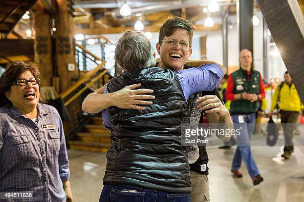Employees of Specialty Outdoor Retailer REI react to news of Black Friday closure at 143 stores nationwide with Rachel Ligtenberg on October 27 2015...