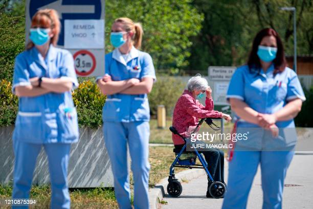 Employees of the Domzale Elderly Care Home stage a fifteen-minute protest demanding from the government to improve their working conditions during...
