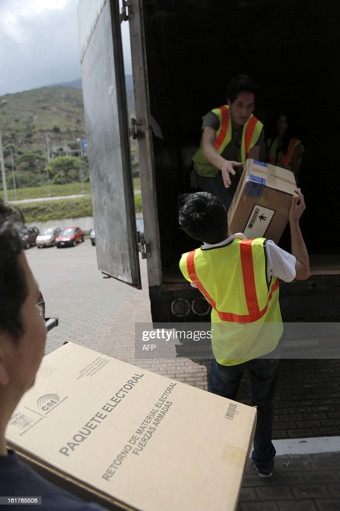 Employees of the Ecuadorean Electoral National Council, load electoral kits on truck for their distribution for Sunday's national election, in Quito, on February 15, 2013. Ecuadoran President Rafael Correa is favored to cruise to a new term Sunday to cement a 'socialist revolution' that has brought stability to a nation where several leaders were forced out before him. An outspoken voice of the Latin American left and friend of ailing Venezuelan President Hugo Chavez, the charismatic, US-educated economist is far ahead of his seven rivals in all opinion polls after six years in office.