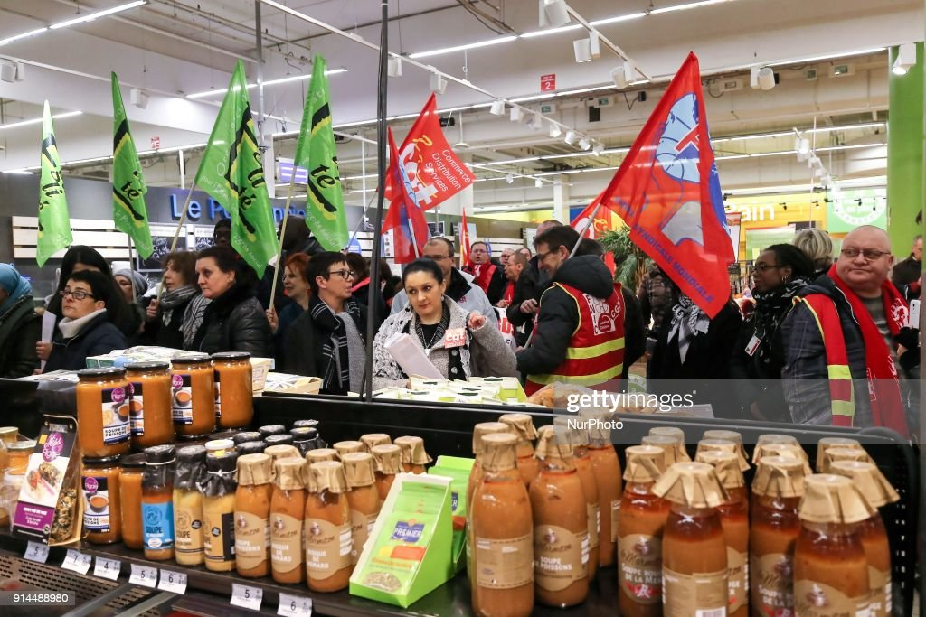 Employees of the French retail chain Carrefour supermarket