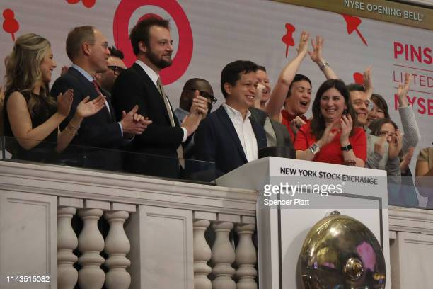 Employees of the online image board Pinterest Inc including CEO Ben Silbermann ring the Opening Bell at the New York Stock Exchange on the morning...