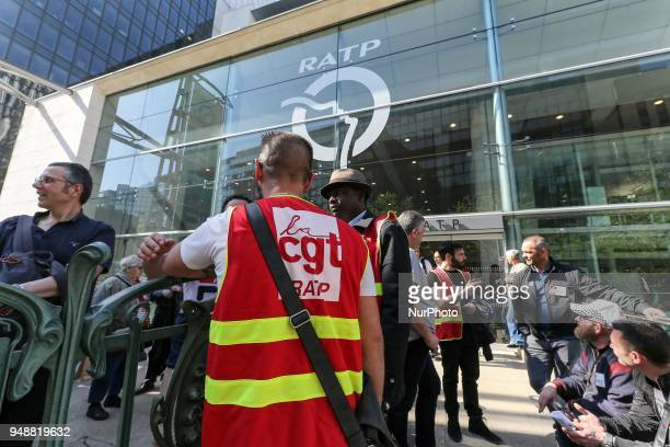 Employees of the Parisian metro company RATP members of French CGT union gather at the compagny headquarters in Paris on April 19 during a...