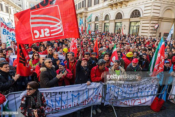 Employees of TIM an Italian brand owned by Telecom Italia that provides mobile fixed telephony and Internet services hold a national strike to...