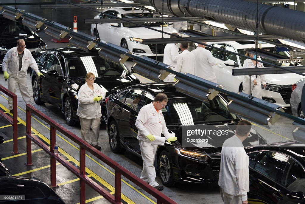 Employees Perform Quality Control Inspections On 2018 Honda Accord Vehicles  Before Being Driven Off The Assembly
