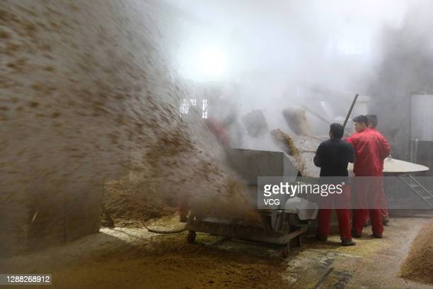Employees process steamed sorghum ahead of fermentation at a workshop of Anhui Kouzi Distillery Co., Ltd on November 28, 2020 in Huaibei, Anhui...