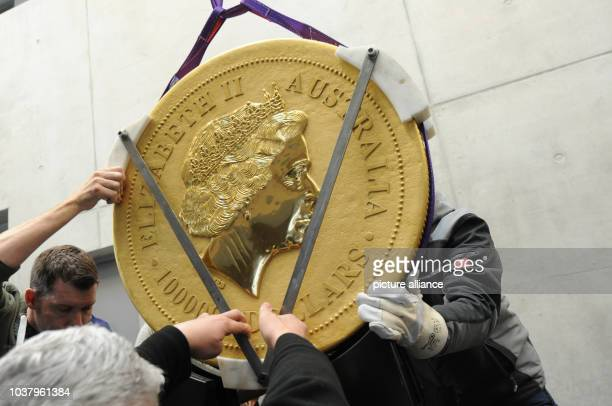 Employees put the biggest gold coin of the the world on a pedestal in the foyer of the company domicile in Munich, Germany, 26 January 2014. The coin...