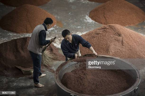 Employees scoop sorghum into vats at the Kweichow Moutai Co distillery in the town of Maotai in Renhuai Guizhou province China on Thursday Dec 14...