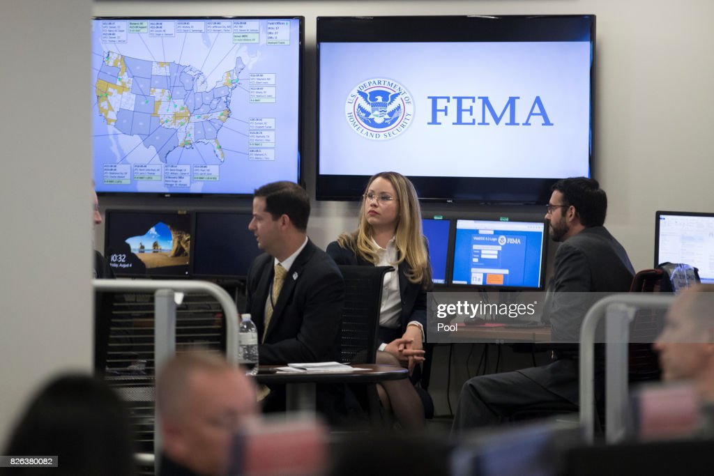President Trump Visits Federal Emergency Management Agency (FEMA) Headquarters : News Photo