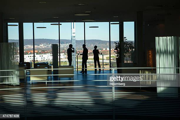 Employees take a break inside the headquarters of SAP AG in Walldorf Germany on Monday Feb 24 2014 SAP AG coChief Executive Officer Bill McDermott...