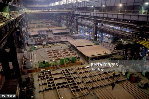 Employees weld steel for ship sections at the GSG Towers Sp. Z o.o. Factory, a unit of the Gdansk Shipyard Group, in Gdansk, Poland, on Wednesday,...