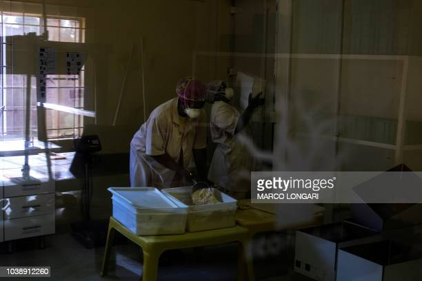 Employees work and handle the baobab powder at the Eco Products lab headquarters in Louis Trichardt in the Limpopo Province on August 27 2018 About...