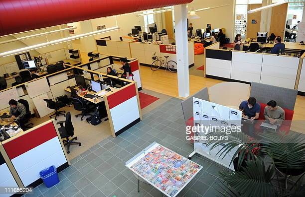 Employees work at the Youtube headquarters in San Bruno California on May 2010 AFP PHOTO / GABRIEL BOUYS