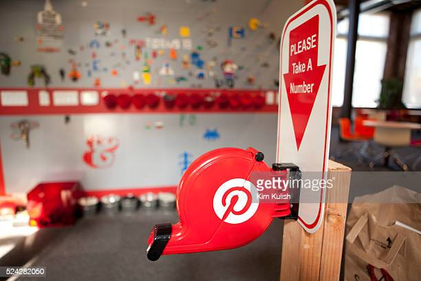 Employees work in fun relaxed environment at Pinterest Headquarters in San Francisco California Pinterest is an online visual discovery tool that you...