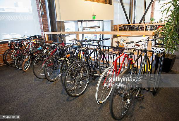 Employees work in fun relaxed environment at Pinterest Headquarters in San Francisco California Bikes are encouraged as a way to get to the office...