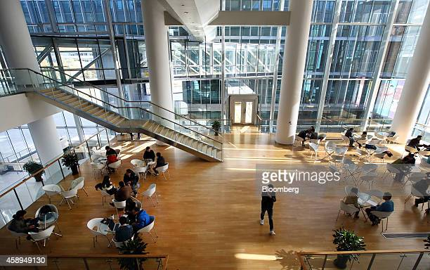 Employees work in the meeting area of the Baidu Inc headquarters in Beijing China on Wednesday Nov 12 2014 While Beijingbased Baidu owner of China's...
