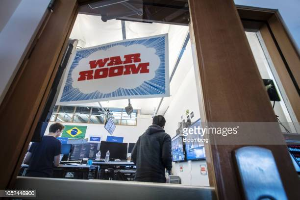 Employees work inside the War Room ahead of Brazil's runoff election at Facebook Inc headquarters in Menlo Park California US on Wednesday Oct 17...